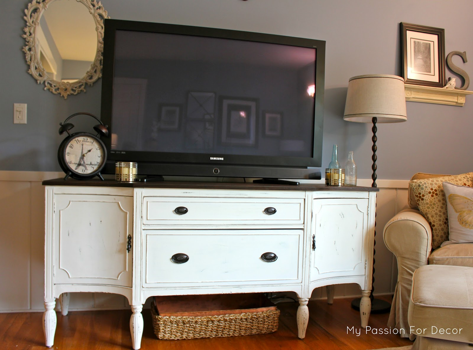 I Knew When Saw This Buffet That It Would Make A Beautiful Media Cabinet Now All Our Family Room Is Waiting For