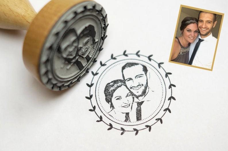Individualisierter Stempel mit Foto für die Hochzeitsdekoration