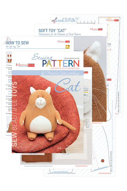 cat plush pattern with tutorial, how to make a toy
