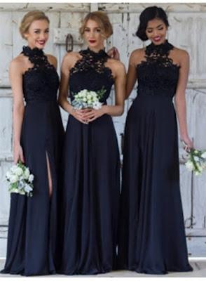 Cheap Dark Navy A-Line Bridesmaid Dresses