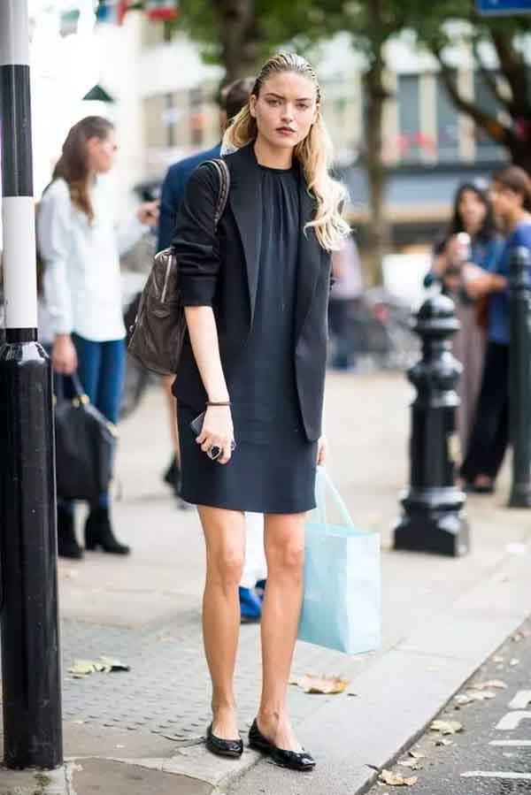 Sapatilha, vestido e blazer