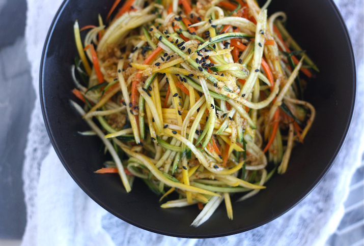 Asian zucchini Slaw with Japanese Seven Spice Dressing by SeasonWithSpice.com