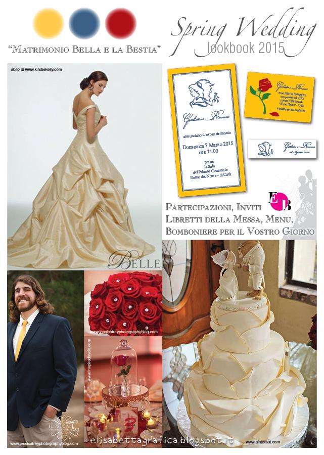 Partecipazioni Matrimonio La Bella E La Bestia.Elisabetta Grafica Spring Wedding Matrimonio Bella E La Bestia