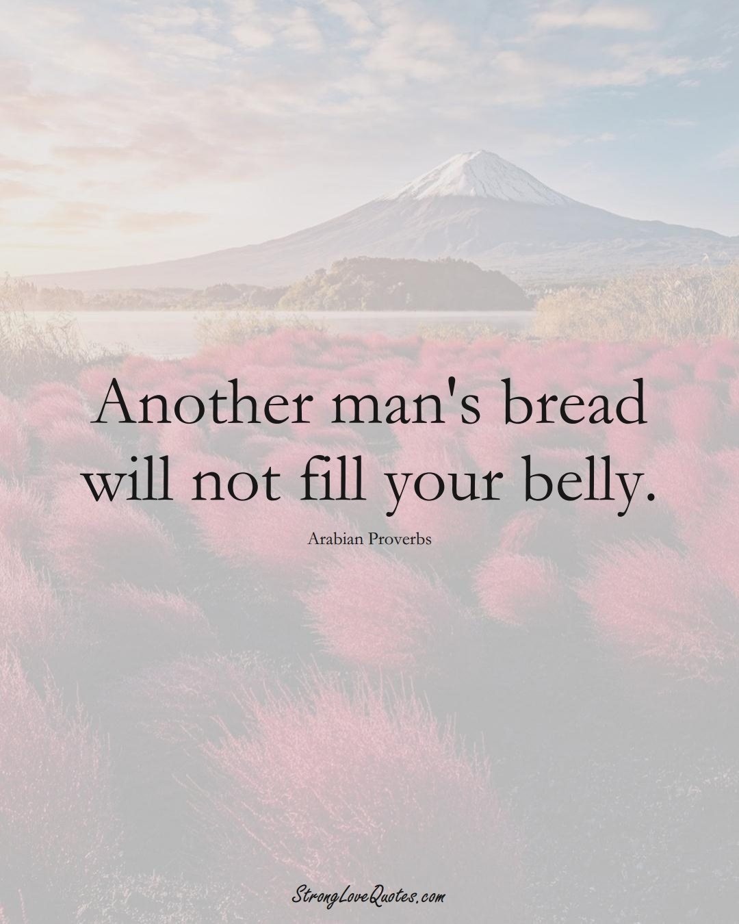 Another man's bread will not fill your belly. (Arabian Sayings);  #aVarietyofCulturesSayings