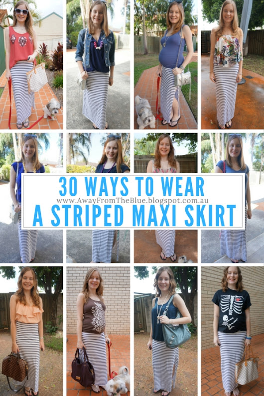 30 Ways To Wear a Striped Maxi Skirt - White and Navy #30Wears Series
