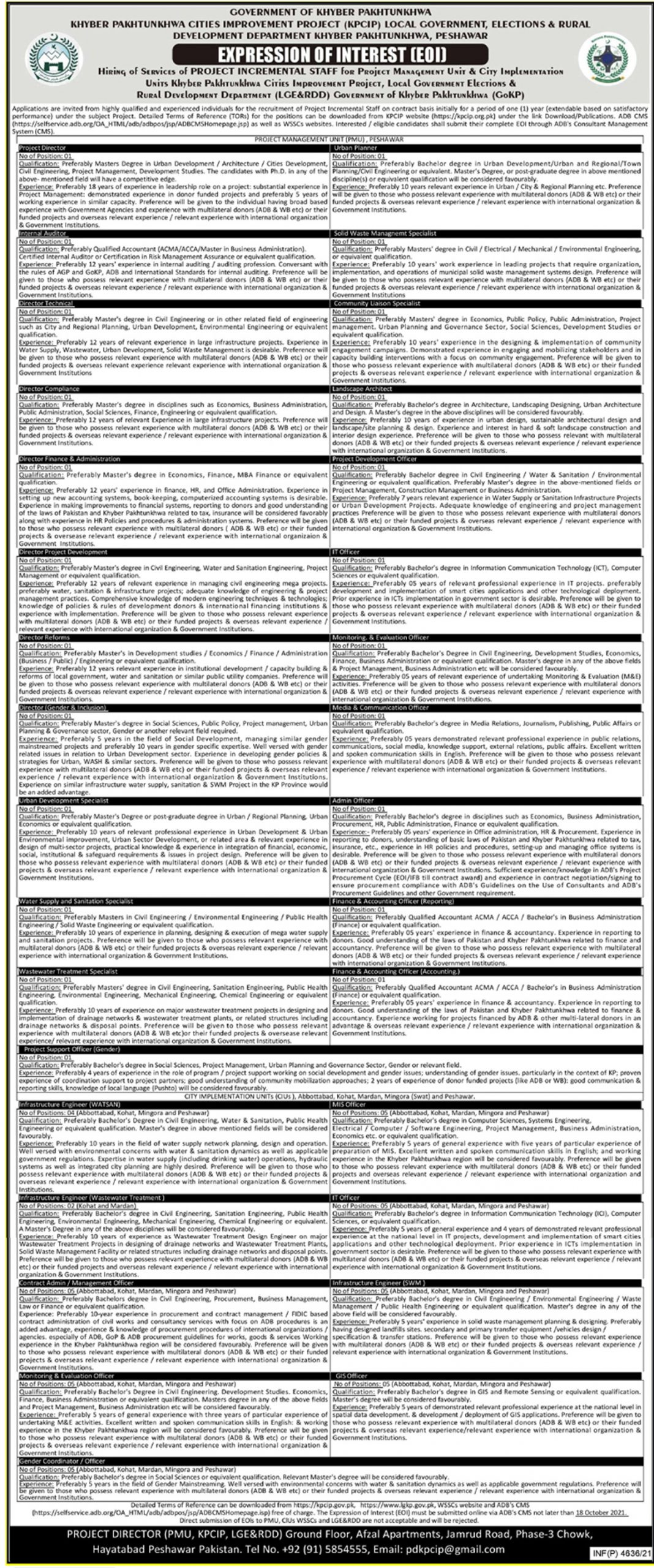 Local Government KPK Jobs 2021 – Apply Online (113+ Vacancies)