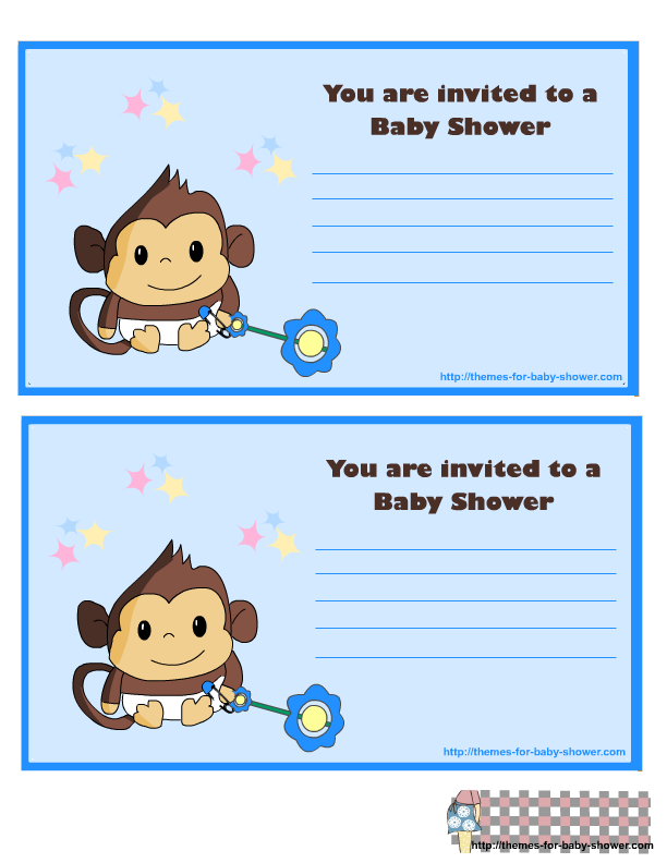 Monkey Baby Shower Kit for Baby Boys Invitations, Cards.