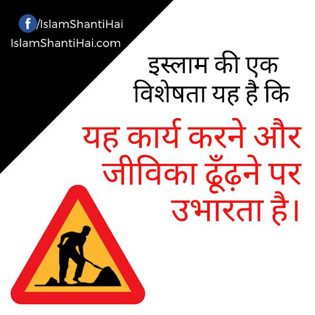 इस्लाम की एक विशेषता यह है कि यह कार्य करने और जीविका ढूँढ़ने पर उभारता है।