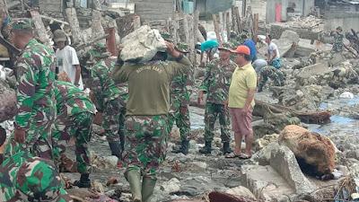 Upaya Kodim 1312/Talaud dalam Penanggulangan dan Antisipasi Bencana Alam Gelombang Pasang  Di Desa Rusoh