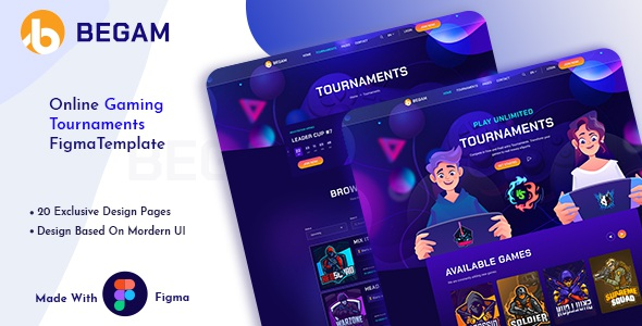 Best Online Gaming Tournaments Figma Template