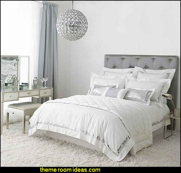 glam bedroom decor Tufted headboards crystal chandeliers  hollywood glam bedrooms silver mirrored decor