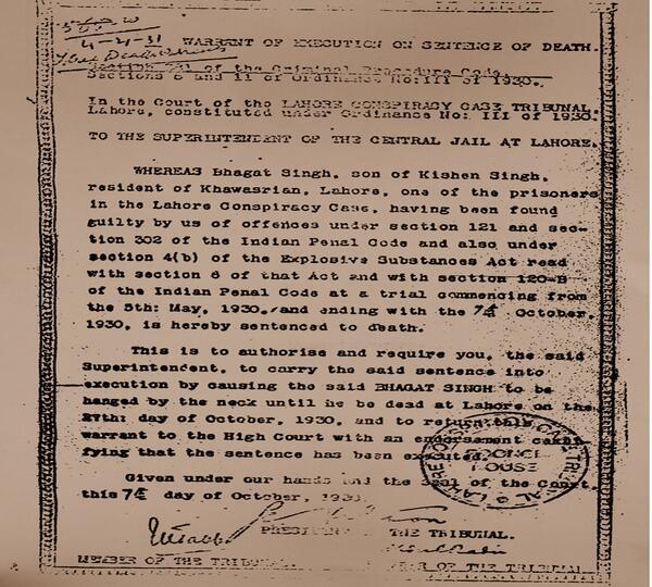 death warrant of Bhagat Singh | भगत सिंह की फांसी का आदेश