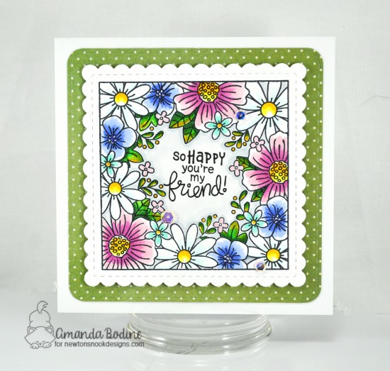 Square Flower Cards by Amanda Bodine | Floral Fringe Stamp Set and Frames Squared Die Set by Newton's Nook Designs #newtonsnook #handmade