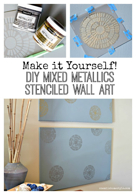 Walls looking a little boring? Try this DIY mixed metallics stenciled wall art to add some fun to your walls right now! - One Mile Home Style