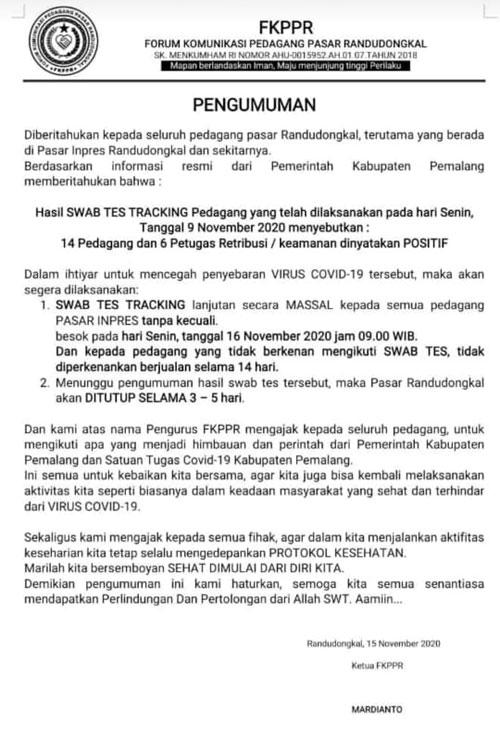 FKPPR: Besok Pagi Pedagang Pasar Randudongkal di Swab Tes Tanpa Terkecuali