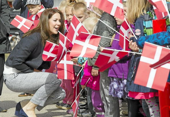 "Crown Princess Mary of Denmark visited Ruds edby school on the occasion of initiation of the ""Reach Out"" project,"