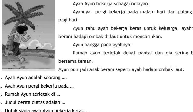 Contoh Soal UTS Bahasa Indonesia SD Kelas 2 Semester 1