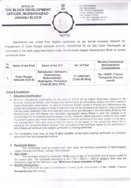 Murshidabad Panchayat Recruitment