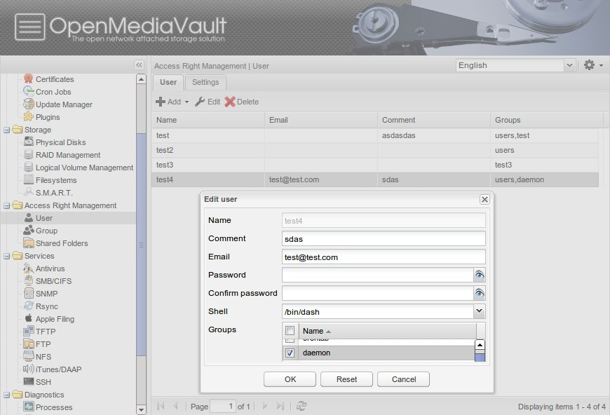 OpenMediaVault has a user and share management.