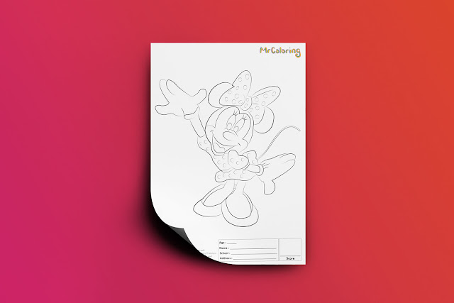 Free Printable Minnie Mouse Coloriage Outline Blank Disney Coloring Page pdf For Girl Kids Kindergarten Preschool Toddler coloring sheets 4
