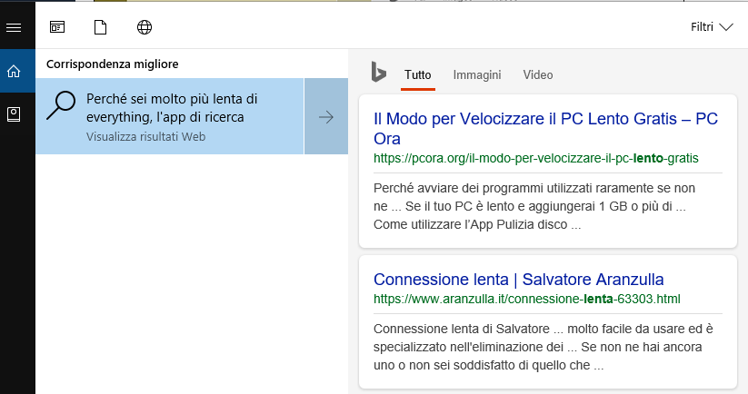 everything app ricerche file più veloce di Cortana