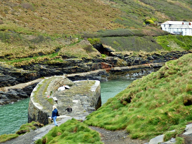 Looking down on the old castle wall at Boscastle, Cornwall