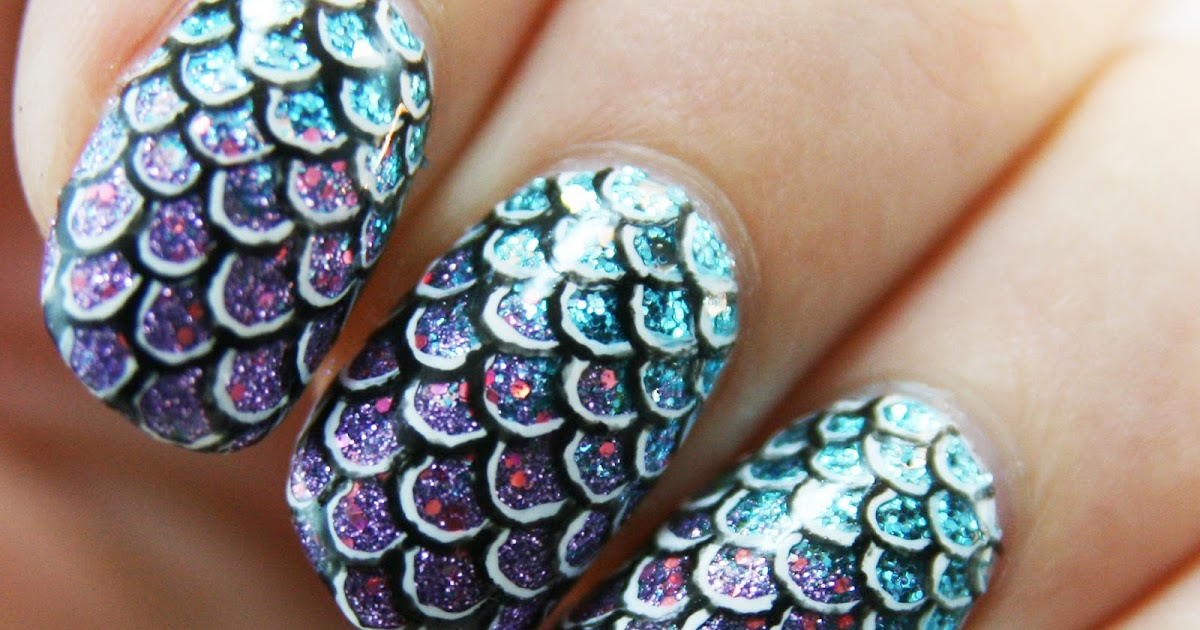 PiggieLuv: Mermaid / fish scales nail art