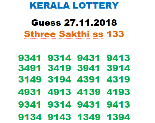 Kerala Lottery Guessing and Predictions 27-11-2018 STHREE SAKTHI
