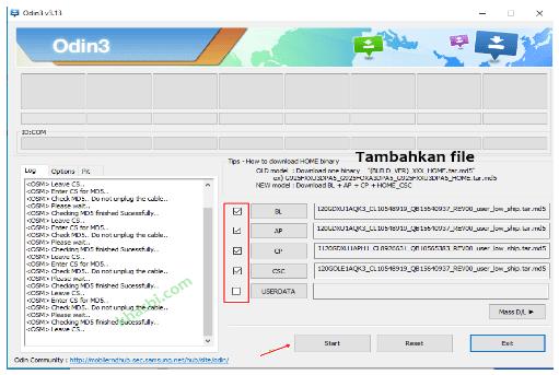 Menambahkan file binary Samsung J5 Pro