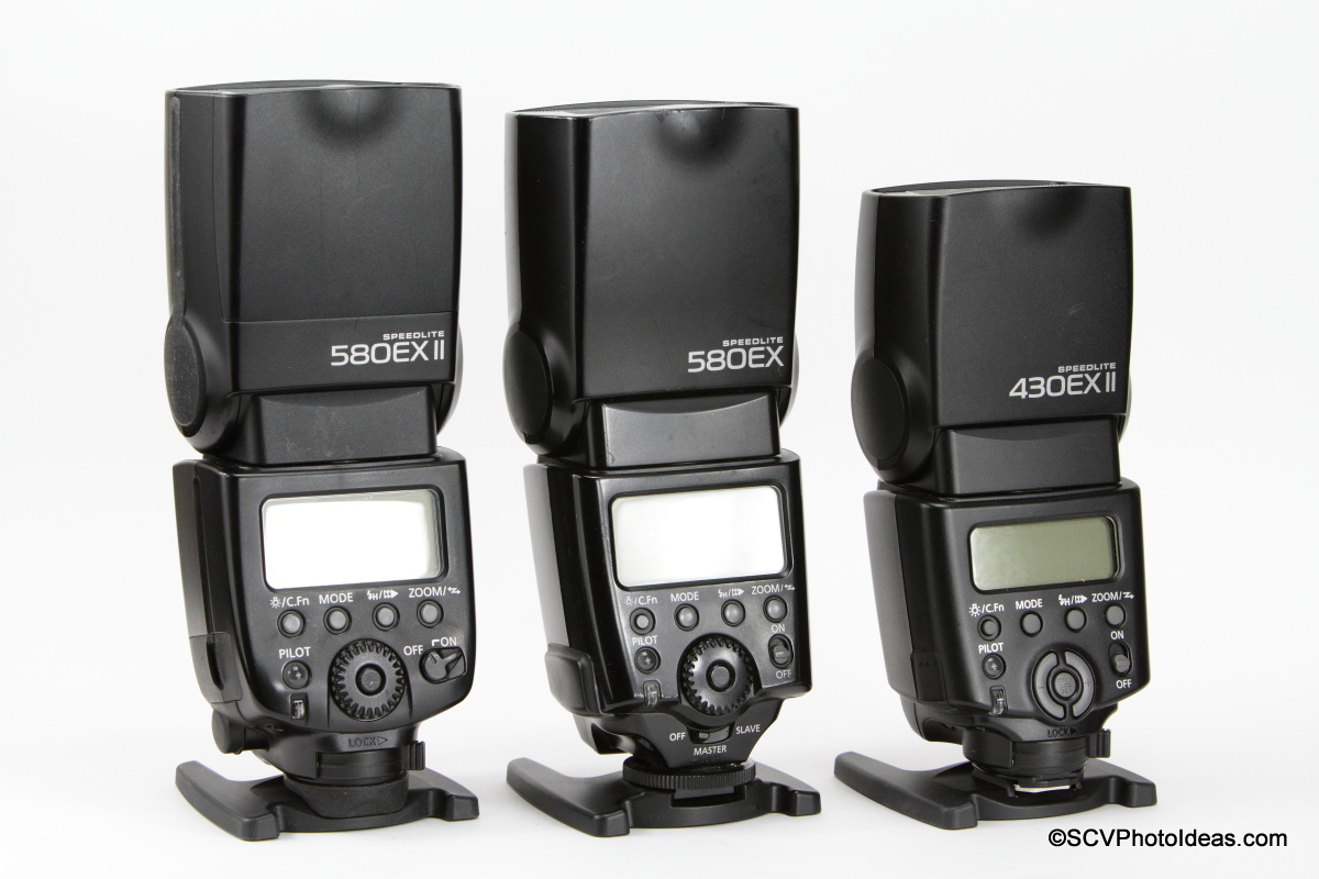 Canon Speedlite 580EX II - 580EX - 430EX II in row