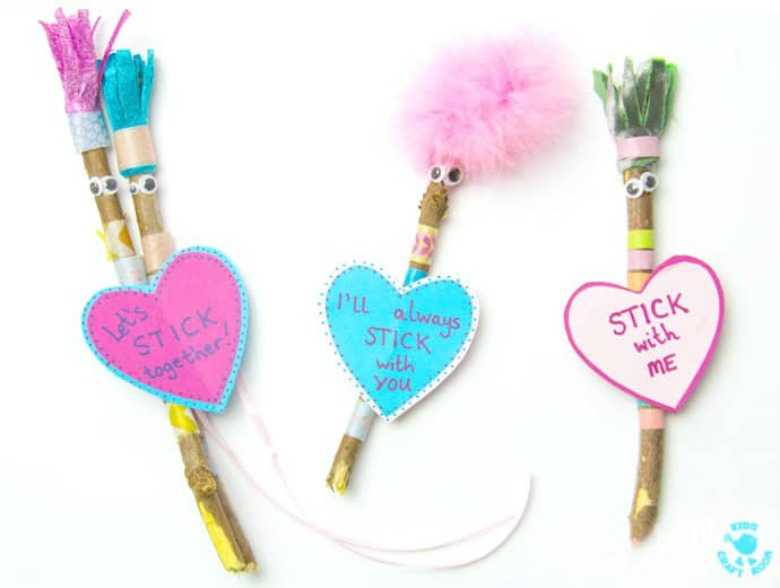 stick Valentine's Day craft for preschoolers
