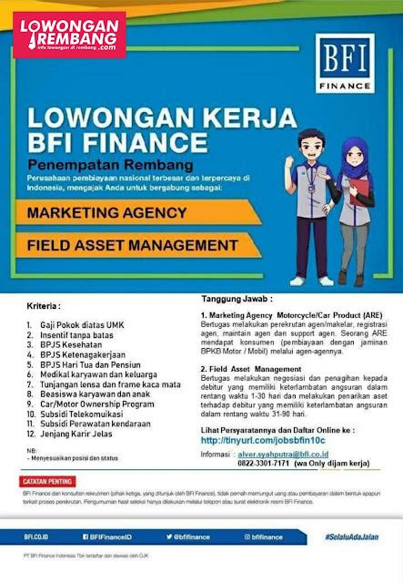 Lowongan Kerja Marketing Agency Dan Field Asset Management PT BFI Finance Indonesia Cabang Rembang