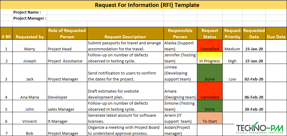 RFI Template, request for information template, request for information