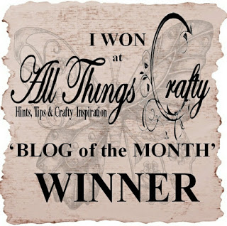 I am Blog of the month winner for All Things Crafty