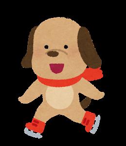 アイススケートをする動物のキャラクター(犬)
