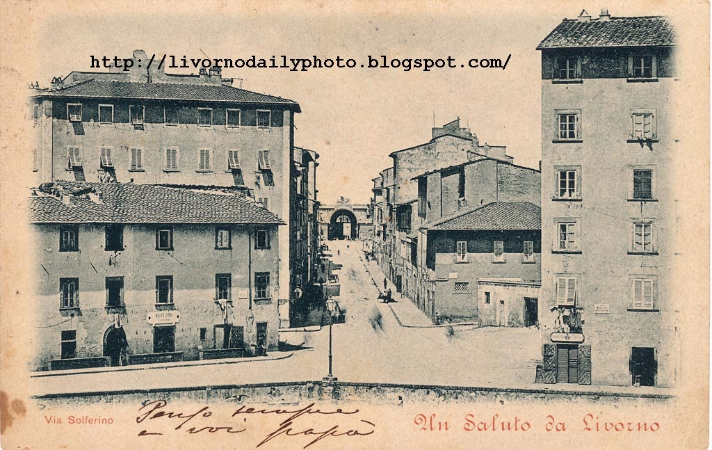 Old postcard, via Solferino seen from the Fortezza Nuova, Livorno