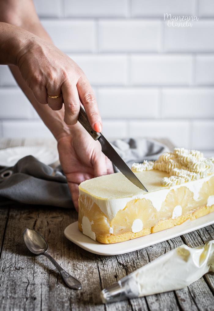 Tarta fría de yogur y piña. Receta muy fácil sin horno.