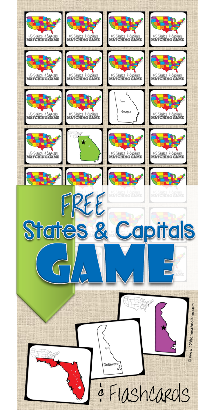 picture relating to States and Capitals Flash Cards Printable identified as Absolutely free Place Capitals Match 123 Homeschool 4 Me