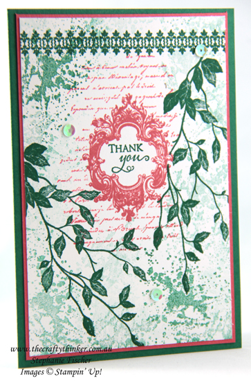 #thecraftythinker #stampinup #cardmaking #veryversailles , Very Versailles, Painted Poppies, Thank you card, Stampin' Up Demonstrator, Stephanie Fischer, Sydney NSW