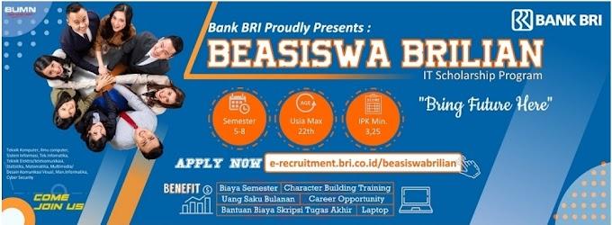Bank BRI: Pendaftaran Beasiswa Brilian (IT Scholarship Program)