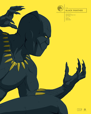 Black Panther Marvel Faceoff Portrait Screen Print by Florey x Grey Matter Art