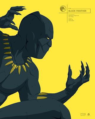 Black Panther Marvel Faceoff Portrait Screen Print by Florey x Grey Matter Art