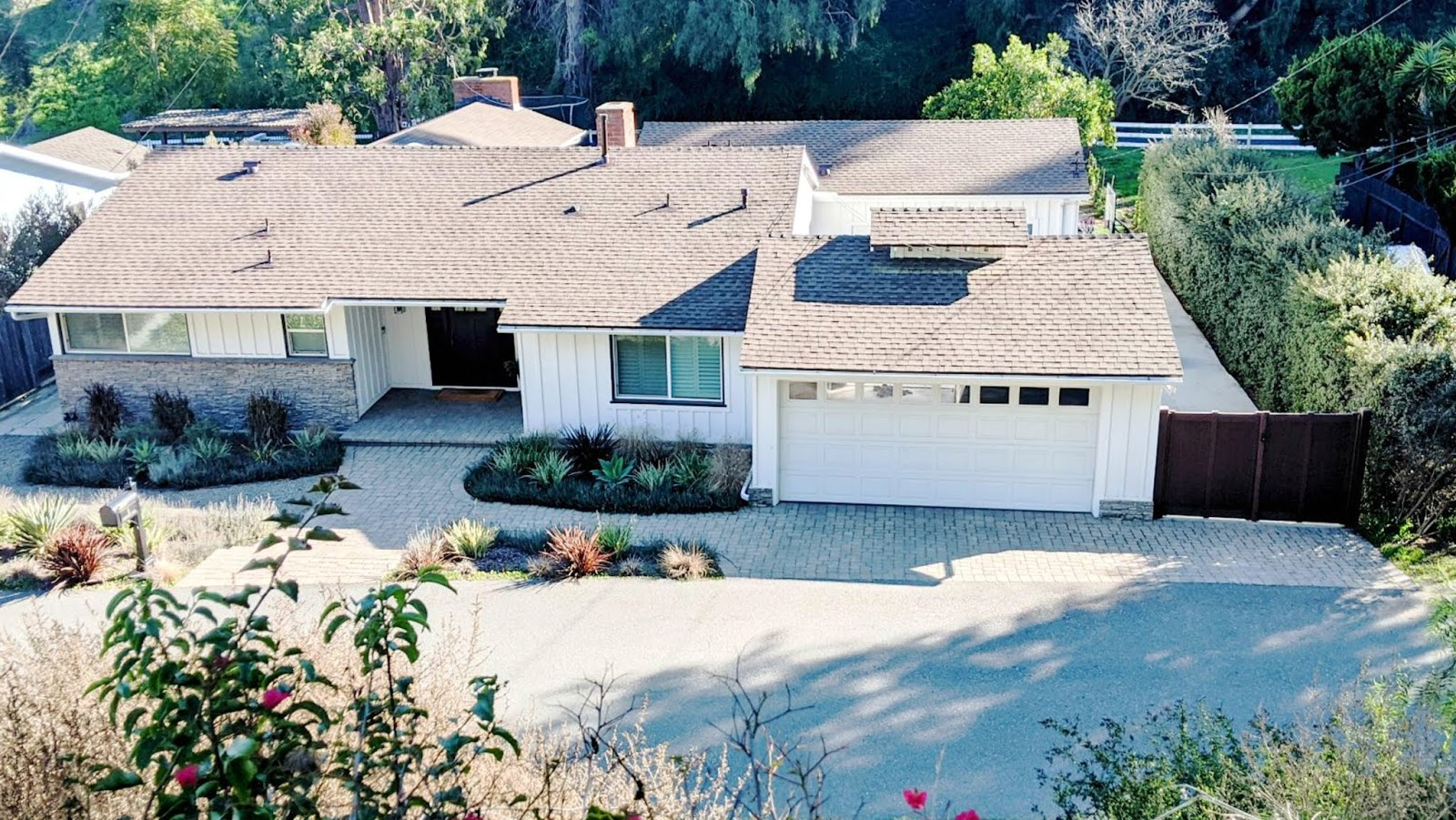 exterior home improvements updates bufftech vinyl wood privacy gate fence double door modern craftsman ranch home house curb appeal