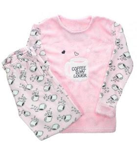 różowa piżama, ciepła piżama, ubranie do snu
