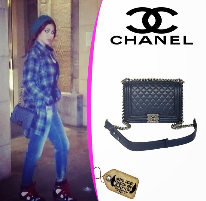 Haifa Wehbe carrying a blue Chanel quilted flap bag 7a0e2ead8a84a