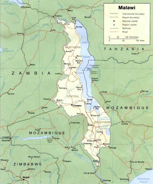 Gambar Peta politik Malawi 1985