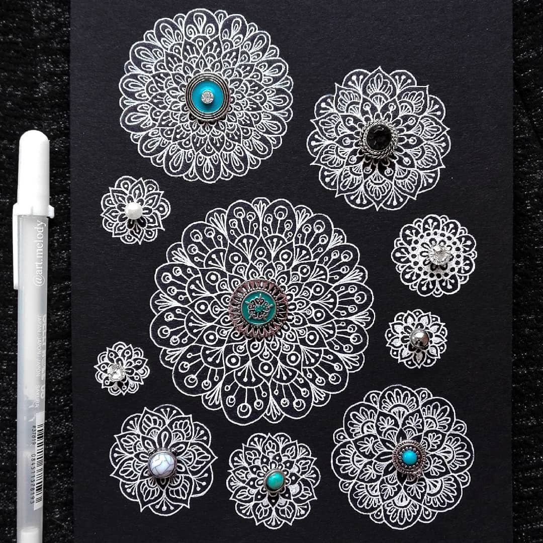 02-Earring-Accessories-Gyöngyi-Szabó-Bright-and-Colorful-Mandala-Drawings-www-designstack-co