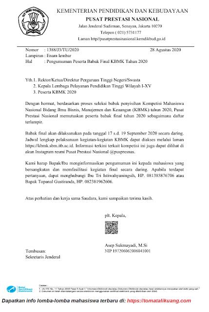 surat pengumuman finalis kbmk tahun 2020 tingkat nasional tomatalikuang.com.jpeg