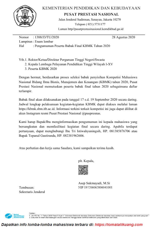 Download Pengumuman Finalis KBMK 2020 Tingkat Nasional PDF
