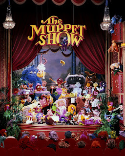 All the muppet characters on stage